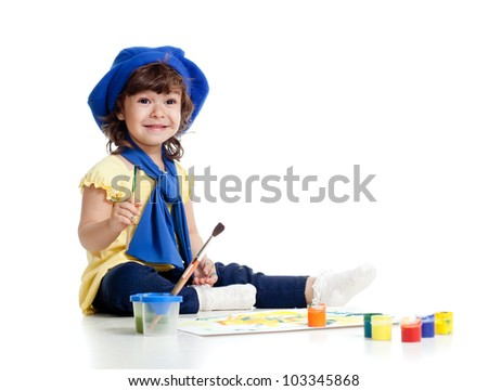 funny artist girl kid drawing and painting - stock photo