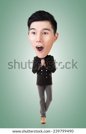 Funny Asian big head man, full length portrait. - stock photo