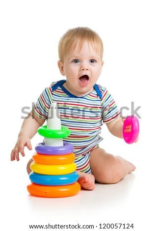 funny baby boy playing with colorful toy isolated on white - stock photo