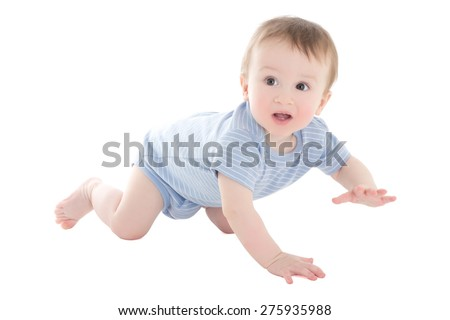 funny baby boy toddler crawling isolated on white background