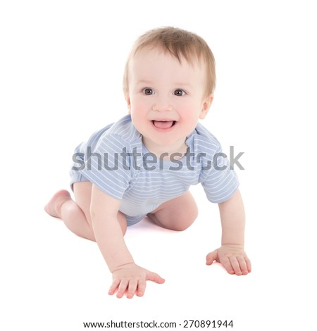 funny baby boy toddler isolated on white background - stock photo