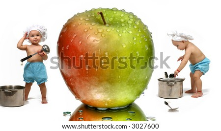 Funny Baby Chef and Apple