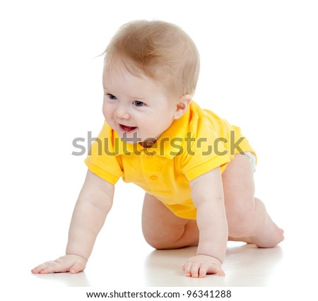 funny baby goes down on all fours - stock photo