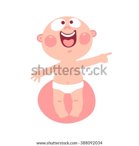 Funny baby. Illustration of cute kid. - stock photo