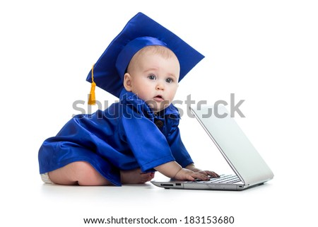 funny baby in academician clothes  using laptop - stock photo