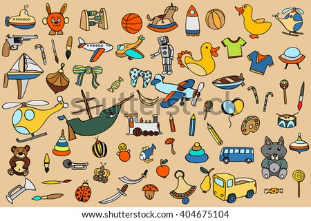 Funny baby toys set. art doodle collection of hand drawn icons for baby shower or scrapbook - stock photo