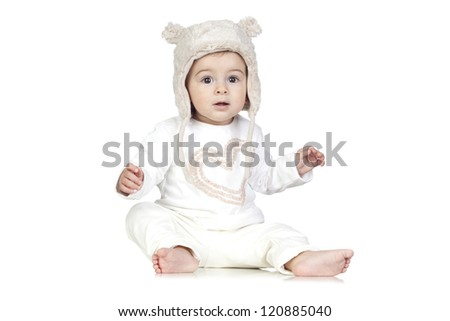 Funny Baby with a Winter Hat Isolated on White - stock photo
