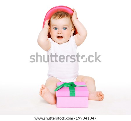 Funny baby with gift