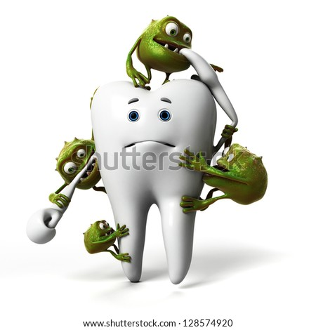 funny bacteria and tooth - stock photo