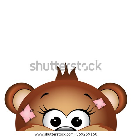 Funny bear on white background.