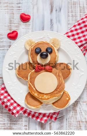 Funny Bear Pancakes Berries Kids Breakfast Stock Photo Image