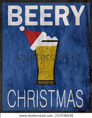 funny beer holiday design with wood grain texture - stock photo