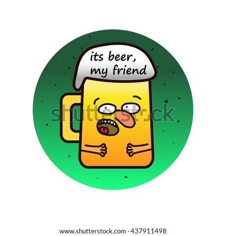 Funny beer mug cartoon character - stock photo