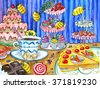 Funny bees in sweetshop, watercolor hand drawn colorful illustration, artwork with sweets, cakes and candies, food and celebration theme - stock vector