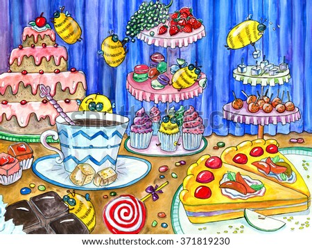 Funny bees in sweetshop, watercolor hand drawn colorful illustration, artwork with sweets, cakes and candies, food and celebration theme - stock photo