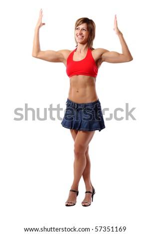 funny biceps pose - stock photo