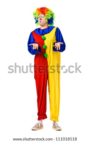 Funny birthday clown. Full body isolated - stock photo