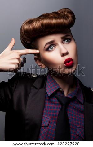 Funny Bizarre Annoyed Girl Indicating her Finger - Upset. Hippie - stock photo