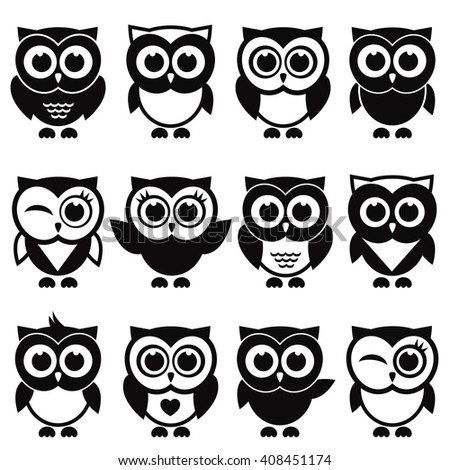 Funny black and white owls and owlets. Raster version - stock photo