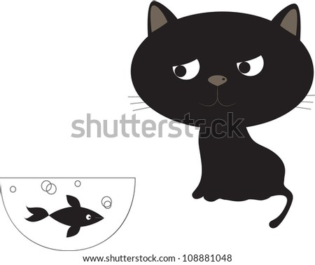 Funny Black cat and fish. - stock photo
