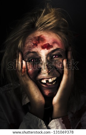 Funny Black Horror Image Of A Waking Zombie With Bed Hair Laughing On The Mourning Of The Zombie Apocalypse
