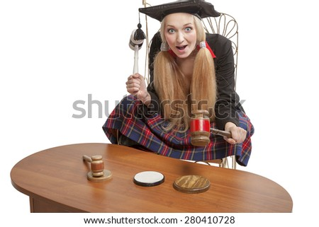 funny blond judge holding mallets isolated on white background - stock photo
