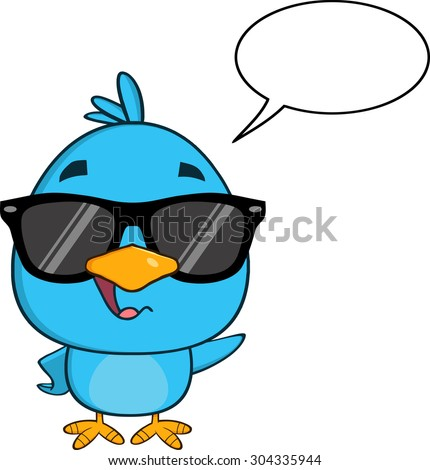 Funny Blue Bird With Sunglasses Cartoon Character Waving With Speech Bubble. Raster Illustration Isolated On White - stock photo