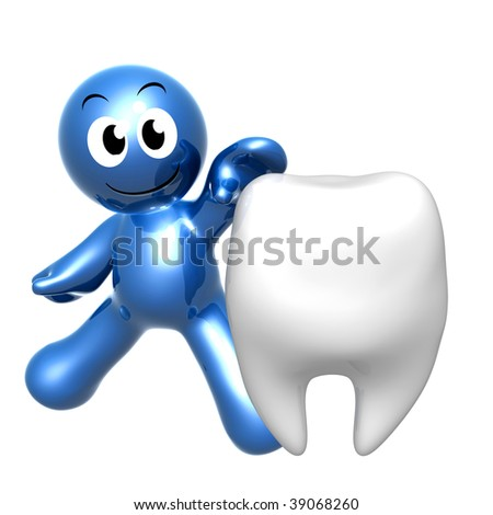 Funny blue icon with giant tooth - stock photo