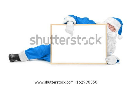 Funny blue santa and empty white board over white background - stock photo