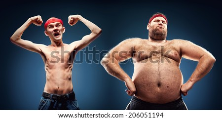 Funny body builders - stock photo