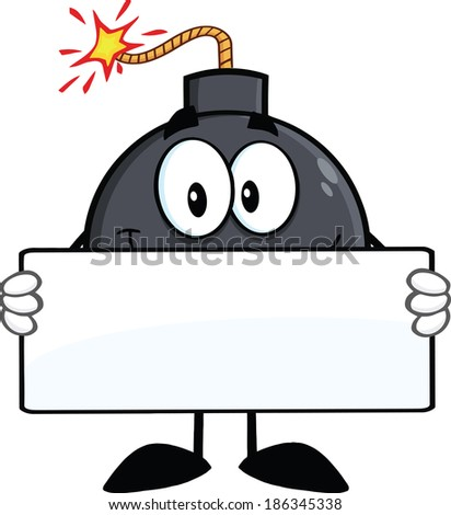 Funny Bomb Cartoon Character Holding A Banner. Raster Illustration Isolated on white - stock photo
