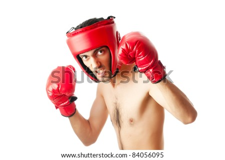 Funny boxer isolated on white - stock photo