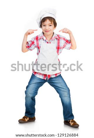 Funny boy dressed as a cook isolated on a white background - stock photo