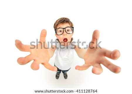 Funny boy in big glasses stretches his hands to the camera. Education. Isolated over white. - stock photo
