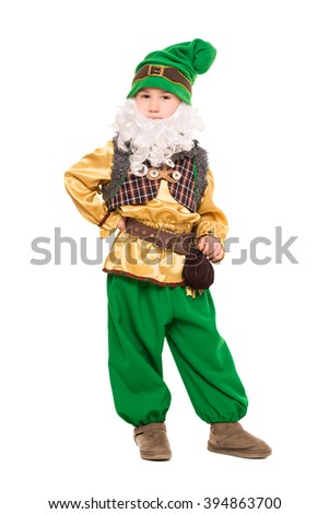 Funny boy posing in a gnome costume. Isolated on white - stock photo