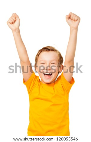 Funny boy shouting with his hands up isolated on white