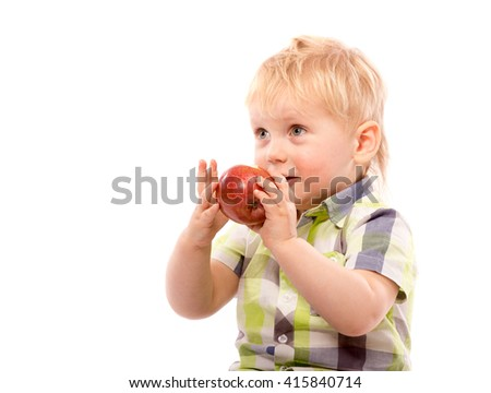Funny boy with red apple and glasses, close up portrait, isolated on white - stock photo