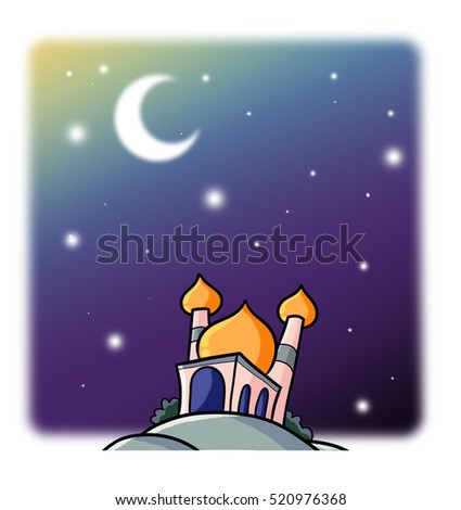 Funny brown mosque with orange dome on the hill and starry night background - illustration.