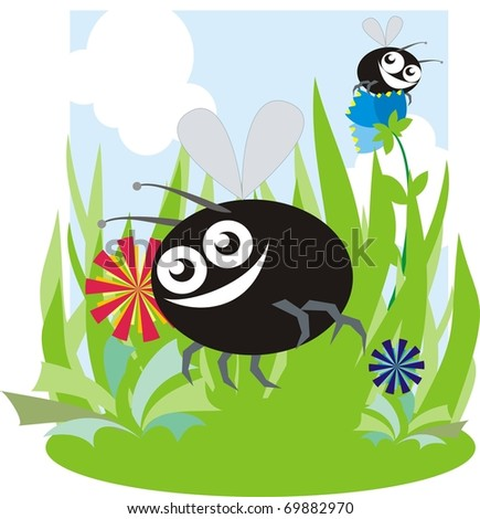 Funny bugs over a green meadow raster cartoon illustration