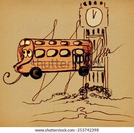 Funny bus with eyes  on a background of Big Ben. Base - a pencil drawing - stock photo