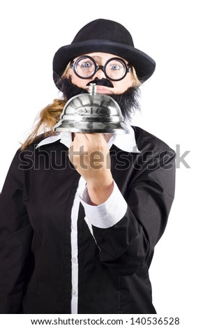 Funny business person holding big service calling bell. - stock photo