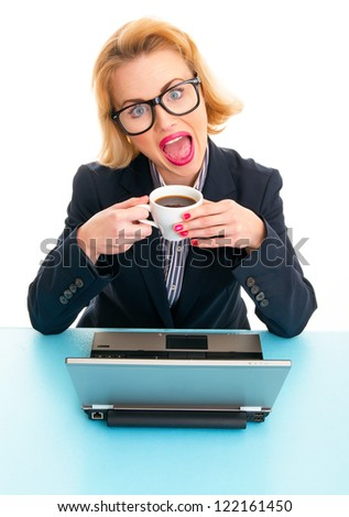 Funny business woman drinking coffee on work, isolated on white - stock photo