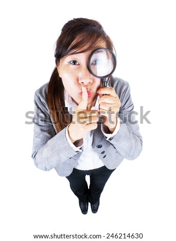 funny business woman with magnifier on  white background - stock photo