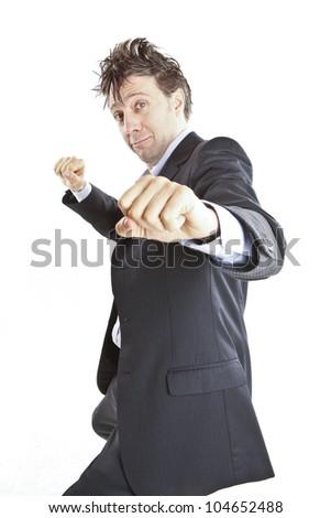 funny businessman dancing - stock photo