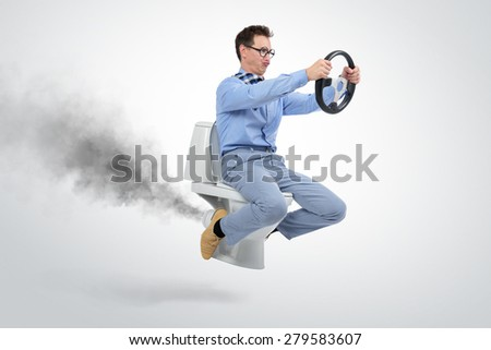 Funny businessman flying on the toilet. Concept of movement