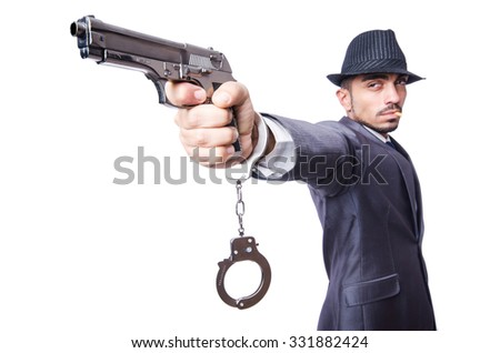 Funny businessman isolated on the white - stock photo
