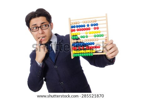 Funny businessman with abacus isolated on the white - stock photo