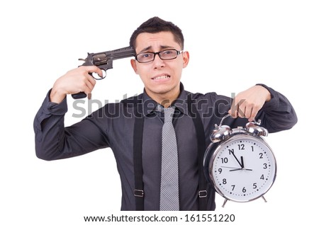 Funny businessman with clock and gun - stock photo