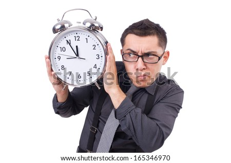 Funny businessman with clock isolated on white - stock photo