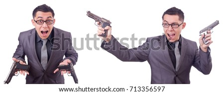 Funny businessman with gun on white